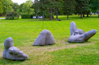 People park modern sculpture Tallin