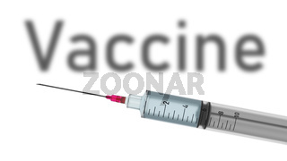 Typical syringe with text vaccine