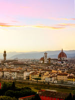 Florence panoramic skyline at sunset