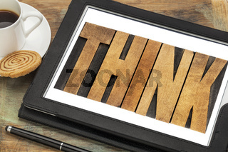 think - word on a digital tablet