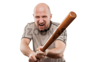 Screaming angry man hand holding baseball sport bat