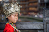 Chinese girl in traditional folk costume