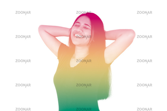 Young diverse girl with hands behind head smiling with reggae rainbow duotone effect - Millennial woman isolated on white background with copy space and rasta colors - festival and carnival concept