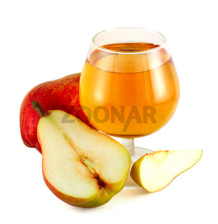 Pear juice with colorful pears