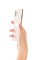 iPhone 12 White in female hand.