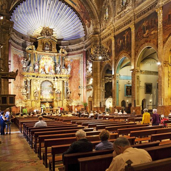 Inside view of the Roman Catholic Church of Santa Maria dels Àngels, Pollenca, Majorca, Spain
