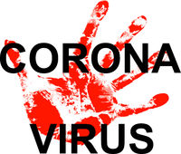 Stop coronavirus behind a bloody palm on a white background