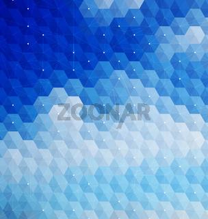 Blue hexagonal mosaic with net