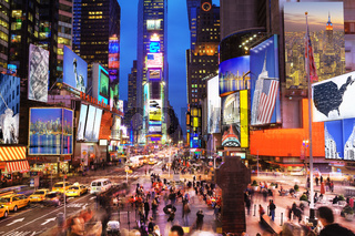New York Icons in Times Square at dusk