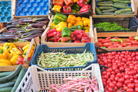Fresh vegetables for sale at a market in Naples, Italy