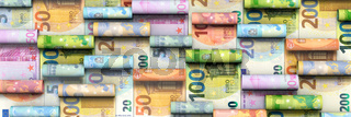 Viele aufgerollte Euro-Banknoten, Bannerformat