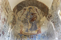 Altar fresco representing a seated Virgin Mary, Kintsvisi Monastry, Shida Kartli region, Georgia