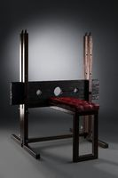 Soft bench with stocks for BDSM session