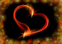Red ribbon heart with colorful bokeh lights, illus