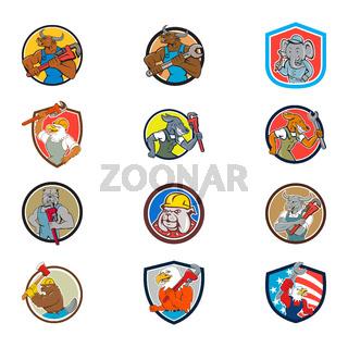 Animal Tradesman Mascot Set Collection