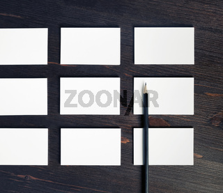 White business cards, pencil