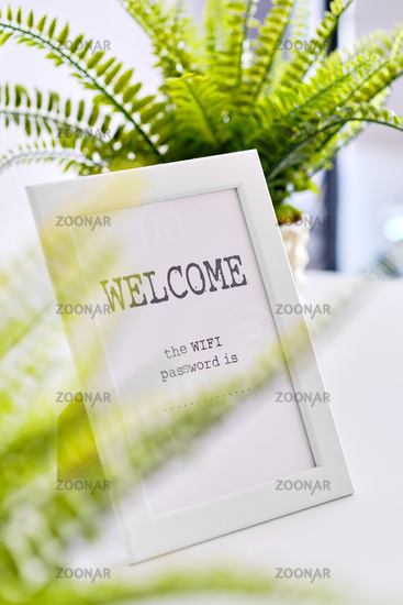 In white frame Wi fi password is and Welcome text