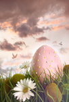 Large pink egg with flowers in tall grass
