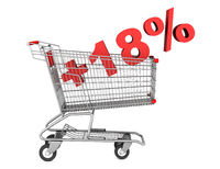 shopping cart with plus 18 percent sign isolated