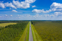 Aerial top view on country road