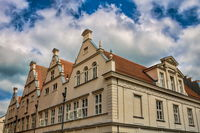 güstrow, germany - 07.06.2019 - side facade of the old town hall