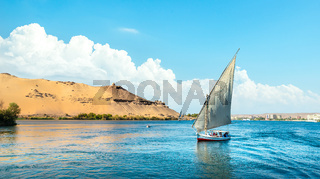 Blue cloudy sky over Nile