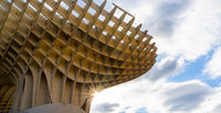 detail view of the Metropol Parasol in Seville with a sun star