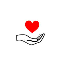 Hand hold a bright red heart, healthcare concept black outline icon on white