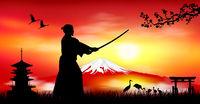 Japanese landscape with a samurai warrior