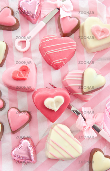 Colourful heart shaped petit fours