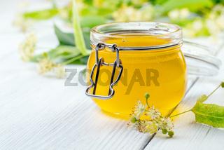 Jar of fresh lime honey.
