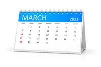 table calendar 2021 march