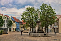 Schönebeck, Germany - June 20, 2020 - market fountain in the old town