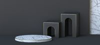 Abstract background white marble podium with two doors 3D