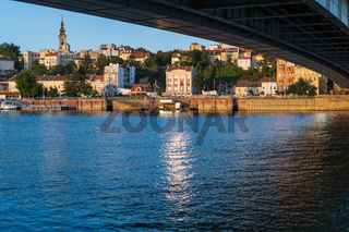 Belgrade center view from the bank of the Sava River, Serbia