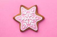 Beautiful Christmas Gingerbread Star Cookie With Snowflake