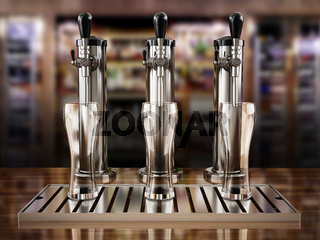 Beer taps on bar counter. 3D illustration