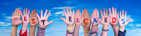 Children Hands Building Word Best Regards, Blue Sky