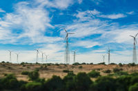 Electricity generating windmills in Rajasthan, Indian. Tilt shift lens.