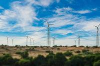 Electricity generating windmills in Rajasthan, Indian. Tilt shift lens.