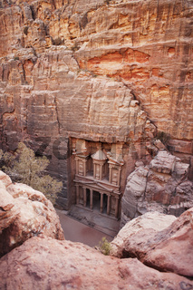Elevated view of the The Treasury, Petra