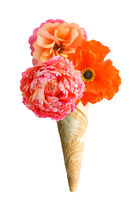Ice cream cone with three crepe paper flowers