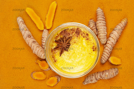 Traditional indian drink turmeric latte or golden milk.