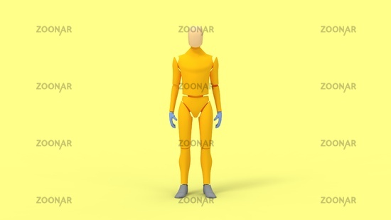 3D rendering of a dummy mannequin isolated in studio yellow