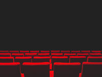 Cinema movie theatre with red seats rows and a black background