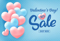 Valentine's day shopping sale invitation poster, advertising banner with pink hearts on blue background, vector illustration.
