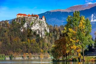 Lake Bled and castle in autumn, Slovenia
