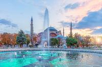 Sultan Ahmet Square fountain and Hagia Sophia, Istanbul, Turkey