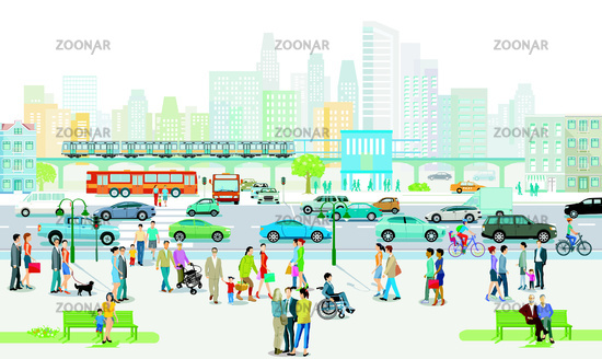 City silhouette with people on the sidewalk and road traffic, illustration