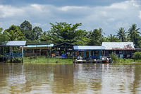 Abai village at the Kinabatangan river side, Kinabatangan river flood plain, Sabah, Borneo, Malaysia